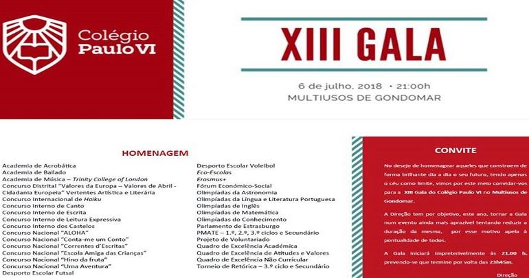 XIII Gala Colégio Paulo VI no Multiusos Gondomar